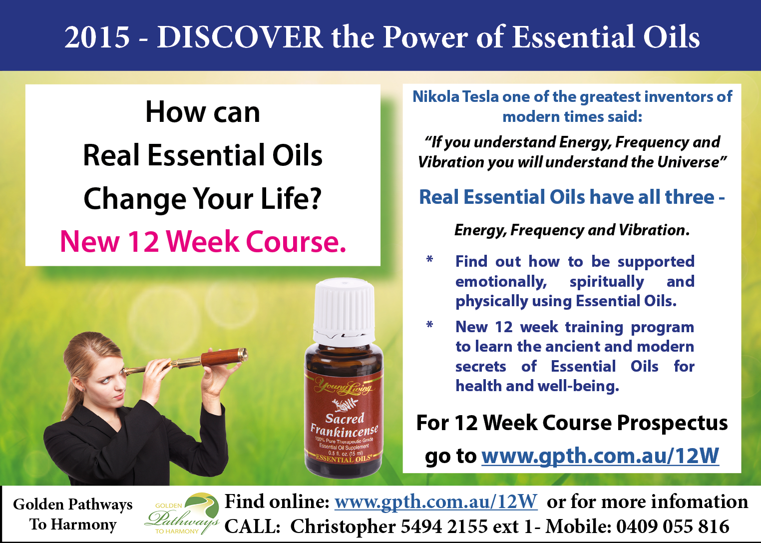 Discover the power of Essential Oils - Workshops in Maleny, Buderim, Nambour and Caloundra